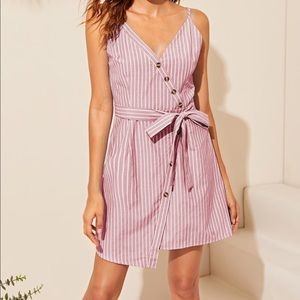 Dresses & Skirts - Striped Button Detail Belted Wrap Cami Dress
